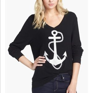 Wildfox Baggy Beach V Neck Anchor Sweater